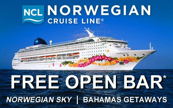 Norwegian Sky: FREE Open Bar for the Bahamas*