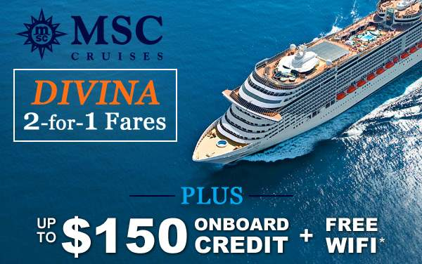 MSC Divina: up to $150 Onboard Credit and MORE*