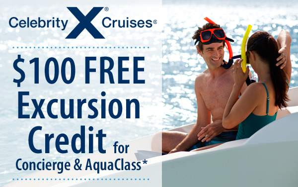 Celebrity Cruises: $100 Excursion Credit*