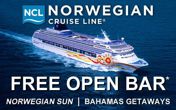 Norwegian Sun: FREE Open Bar to the Bahamas*