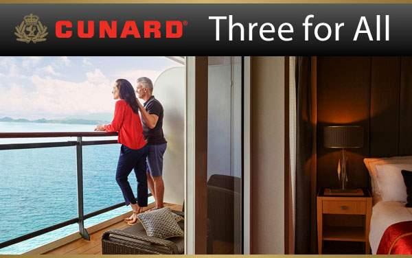 Cunard Sale: FREE Upgrade, Gratuities and Drinks*