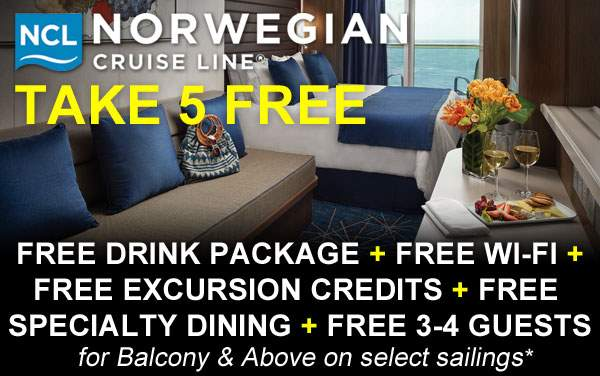 Norwegian TAKE 5 Sale: 5 FREE Offers*