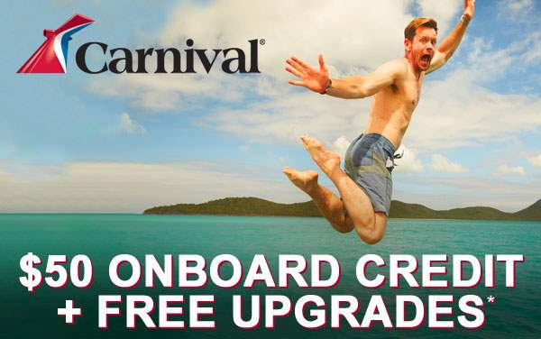 Carnival Sale: Free Upgrade, $50 Onboard Credit*