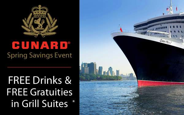 Cunard: Free Drinks and Tips for Grill Suites*