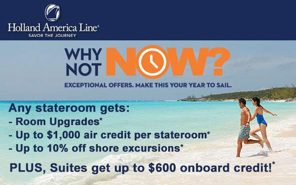 Holland America Sale: Free Upgrades and Air Credit