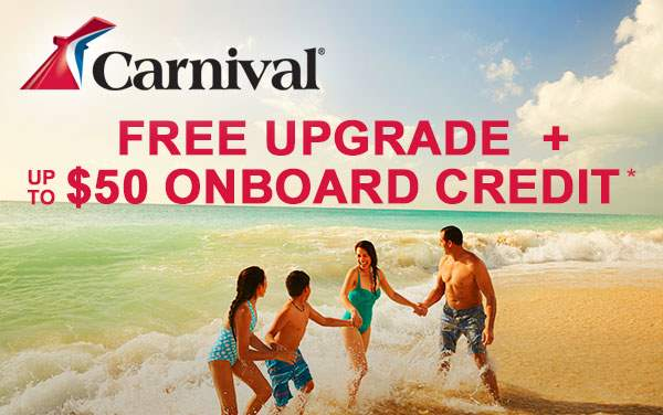 Carnival Sale: up to $50 OBC + Upgrades*