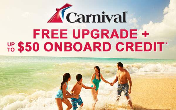 Carnival: Free Upgrade and up to $50 OBC*