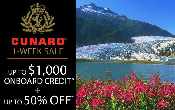 Cunard: Free Onboard Credit and up to 50% Off