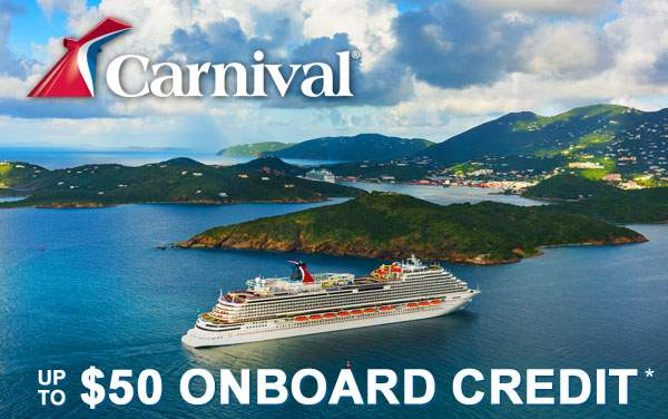 Carnival: Up to $50 Onboard Credit!