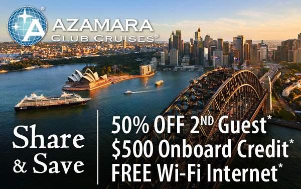 Azamara: 50% Off 2nd Guest, Free OBC, Free WiFi*
