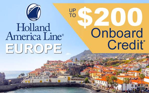 Holland America 3-Day Sale: up to $200 OBC*
