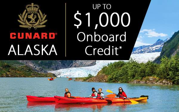 Cunard Alaska Sale: up to $1,000 Onboard Credit*