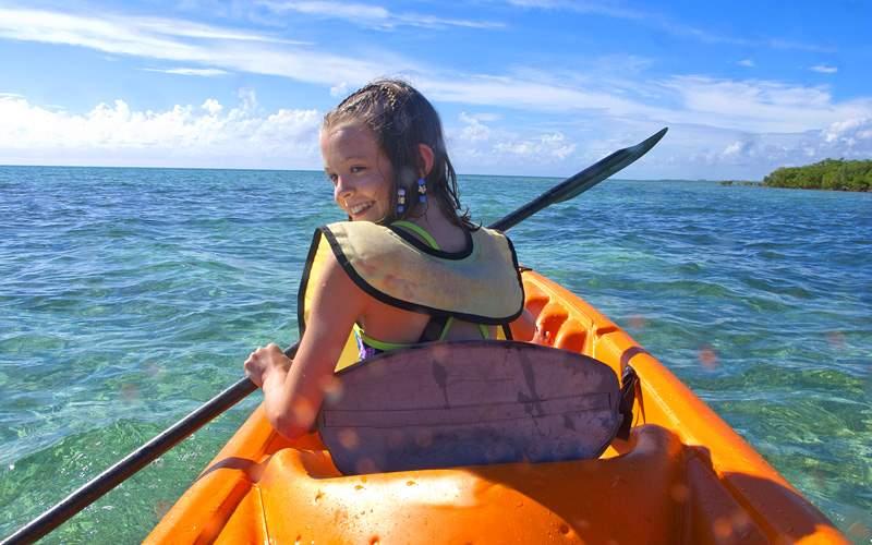 young girl kayaking Royal Caribbean Bahamas Cruise