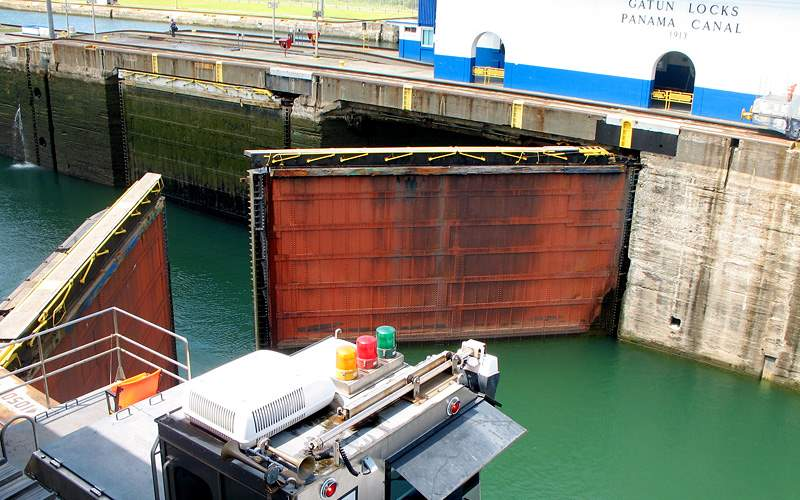 The gates of the Gatun Locks opening Panama Canal