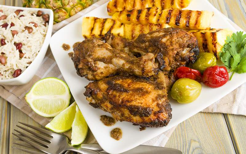 Jerk chicken and grilled pineapple Southern Caribb