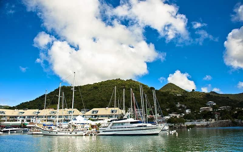 Yachts in the harbor of St. Maarten Azamara
