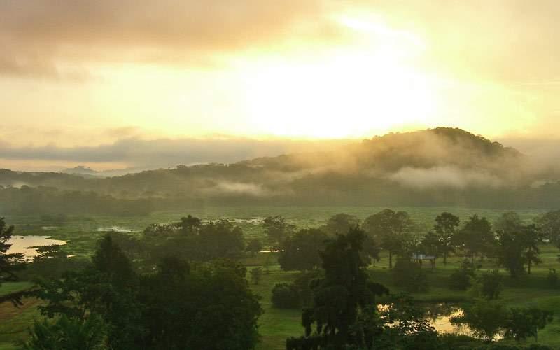Beautiful sunrise in the Panama Channel with morni