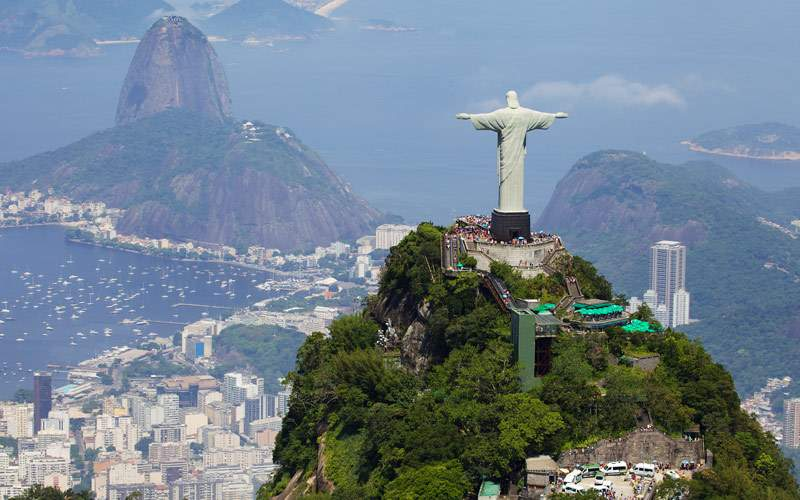 Aerial view of Christ Redeemer and Corcovado Mount