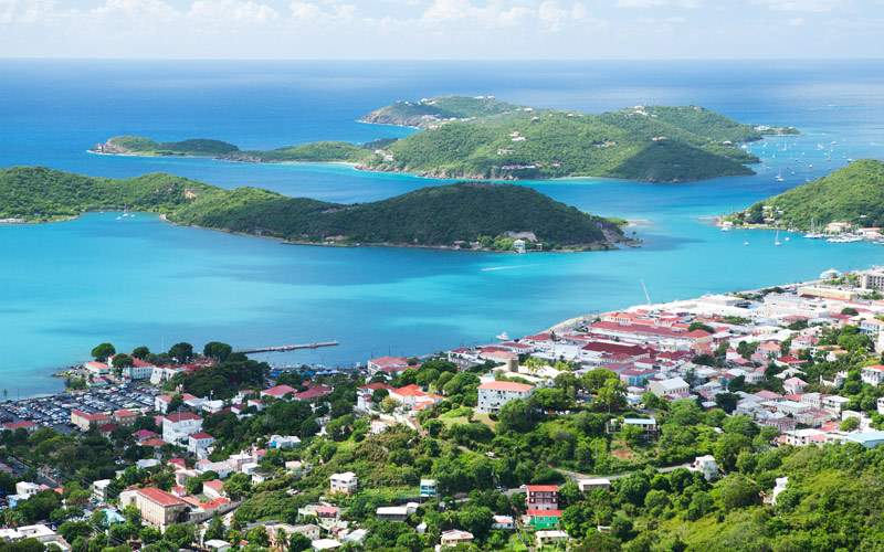 Aerial view of the Island of St. Thomas USVI Charl
