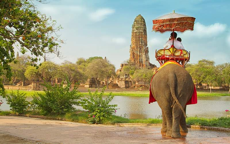 An elephant ride tour of the Ancient City Ayutaya
