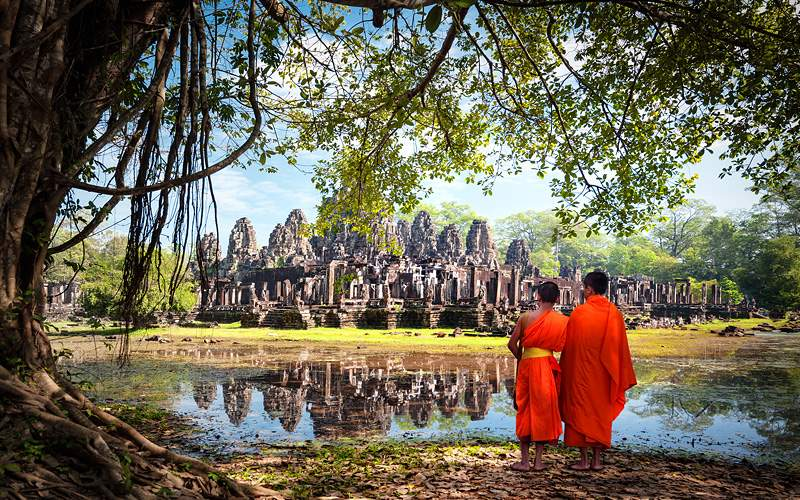 Angkor Wat Monk Ta Prohm Khmer Ancient Buddhist Te
