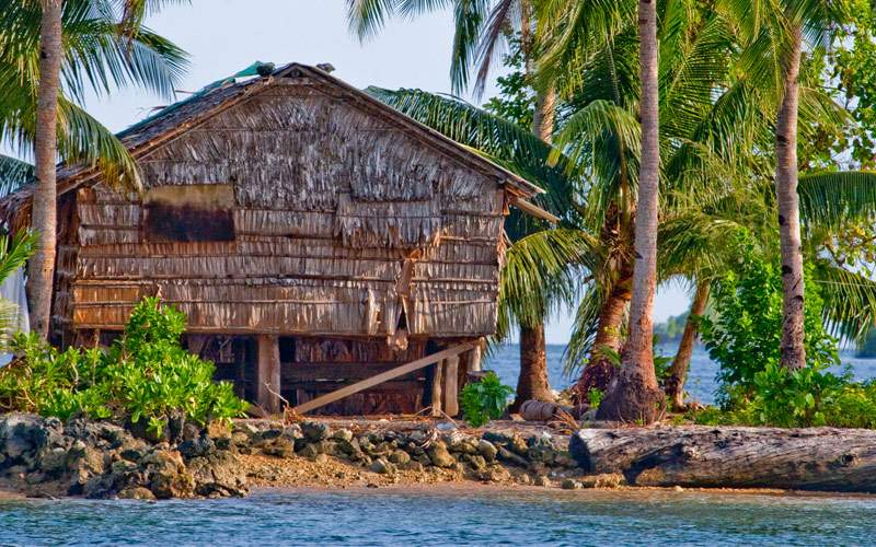 Bamboo hut on stilts on Gizo Island in the Solomon