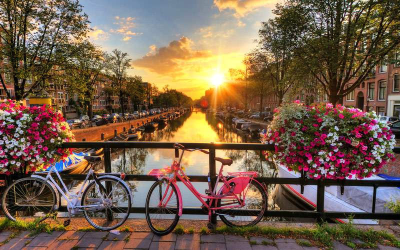 Beautiful sunrise over Amsterdam The Netherlands