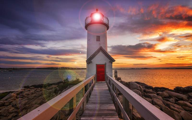 Annisquam lighthouse of the coast of Gloucester