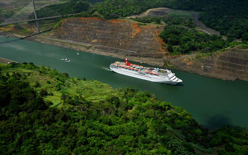Ship passing through Panama Canal Carnival Cruises