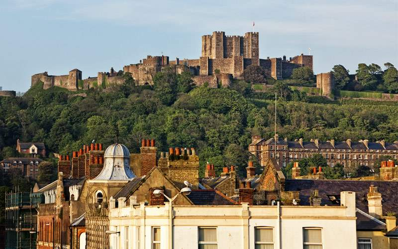 Castle above the City of Dover Kent UK