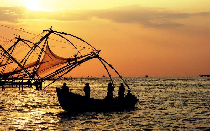 Fishing boats in Cochin, India