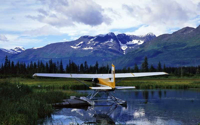 Seaplane in the Alaskan mountains