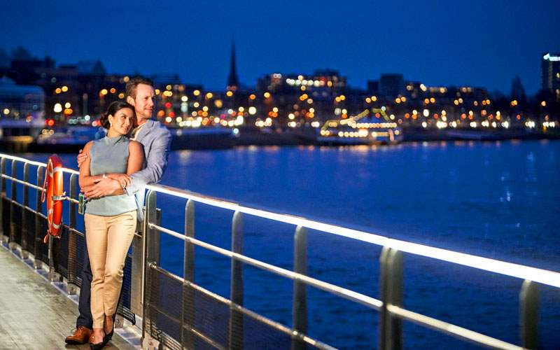 Rhine at night aboard Crystal River Cruises