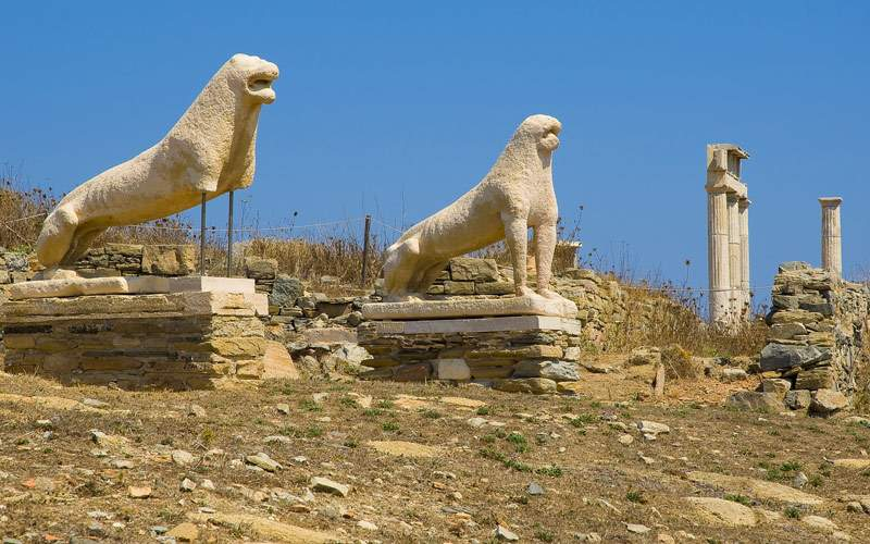 Ancient lions of Delos Cunard Line Europe