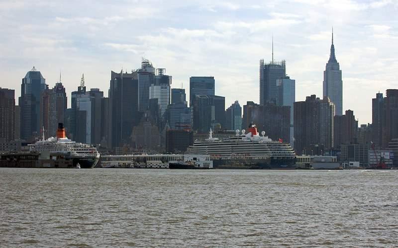 Ships dock New York Port Cunard Line Transatlantic