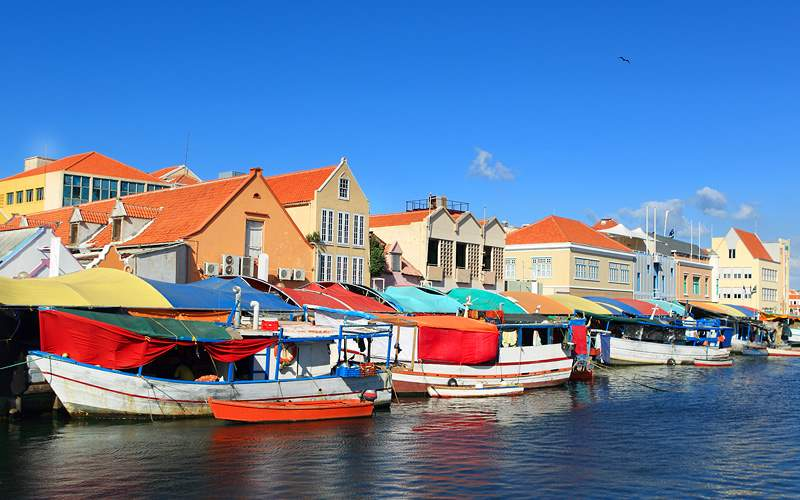 Floating market in Willemstad, Curacao Cunard Line