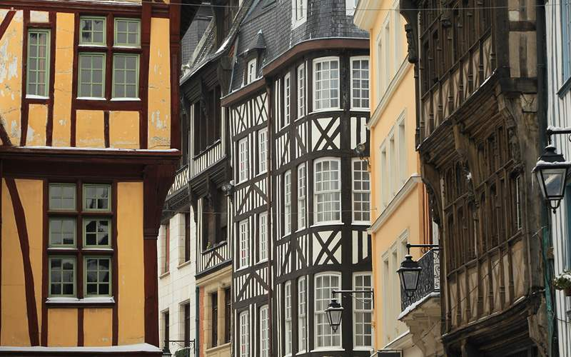 Normandy old houses Cunard Line Europe