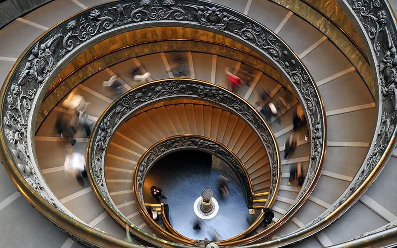 Stairwell in Sistine Chaple Museum Cunard Line