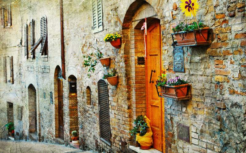 Charming old streets of medieval towns of Tuscan