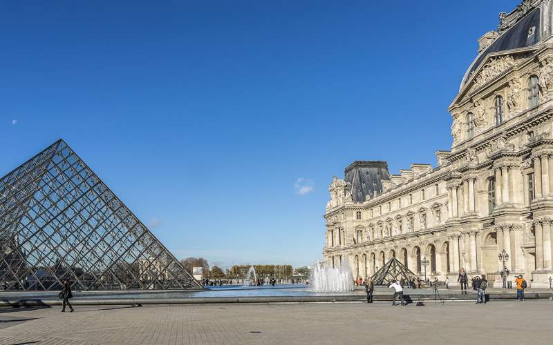 Pyramid at courtyard of Louvre Museum
