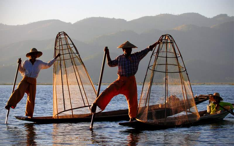 Fishermen at Inle Lake Shan State Myanmar