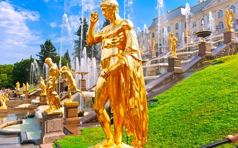 Fountains in Petrodvorets Peterhof Saint Petersbur