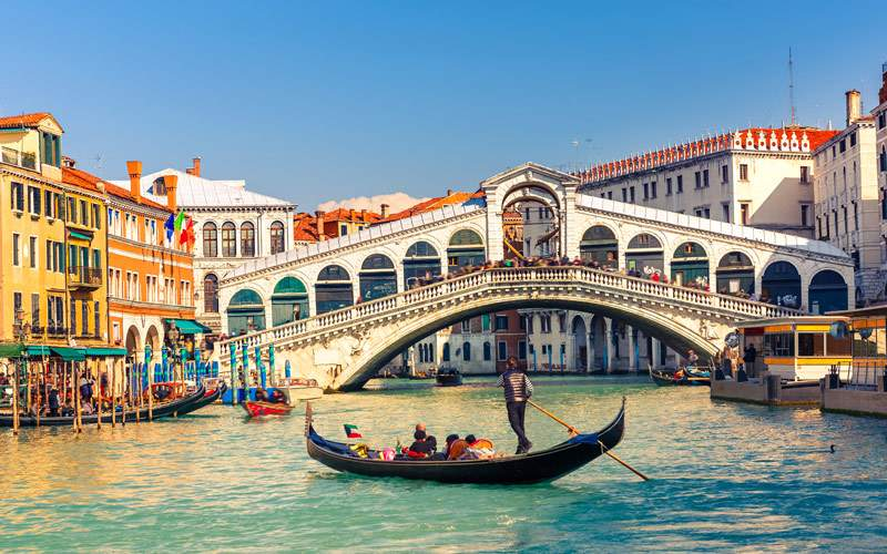 Gondola near Rialto Bridge in Venice Italy
