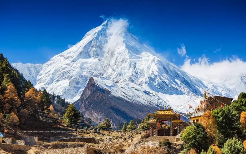 Himalayas Mountain Mt Manaslu in Himalayas Nepal