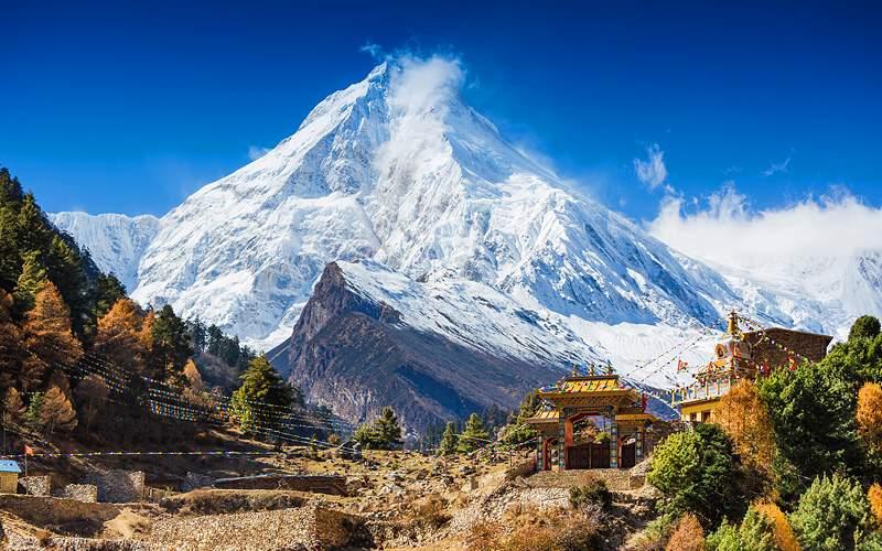 Himalayas Mountain Landscape Mt Manaslu in Himalay