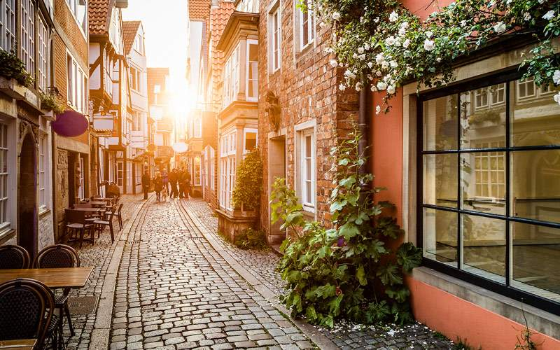 Historic Schnoorviertel at sunset in Bremen German