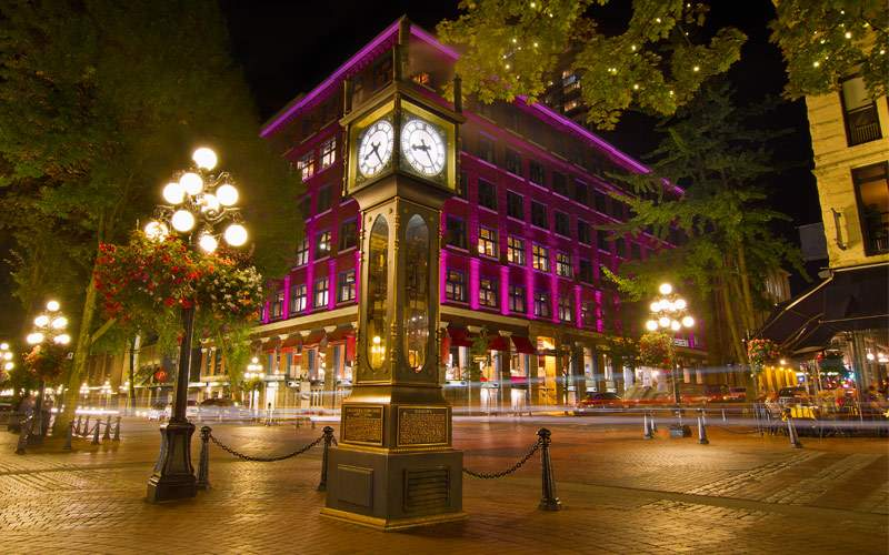 Historic Steam Clock in Gastown Vancouver BC Canad
