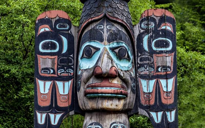 Carved totem Ketchikan Alaska Holland America Line