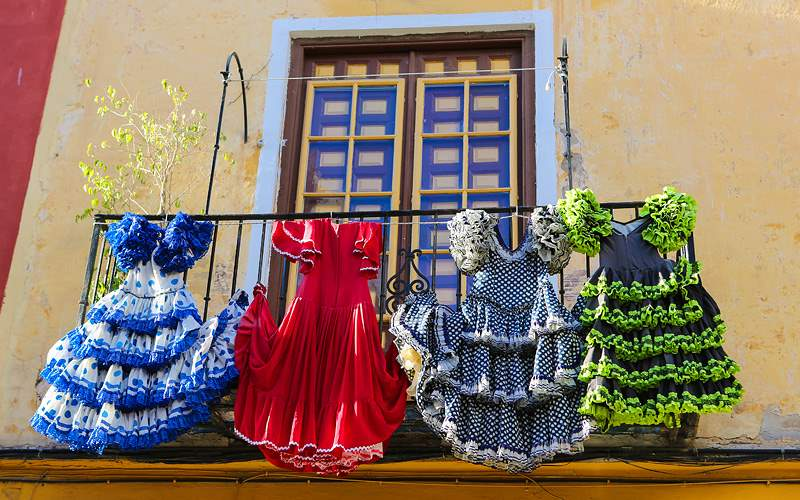 flamenco dress at a house, Malaga Holland America