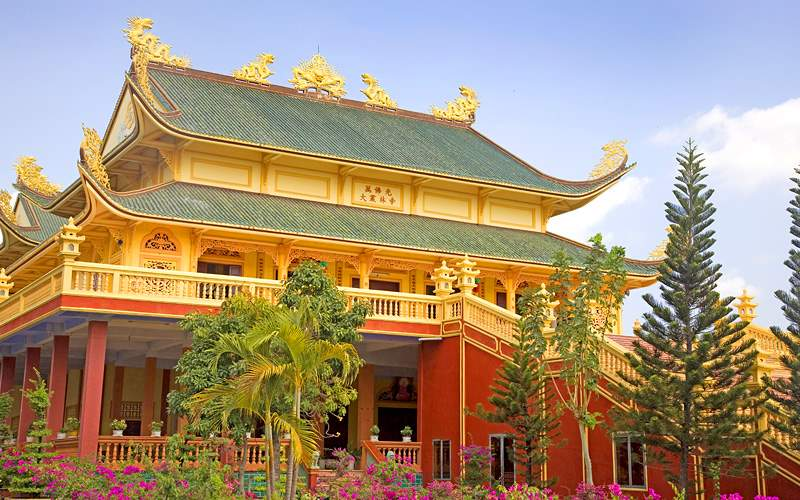 Golden Buddhist temple, Vietnam Holland America